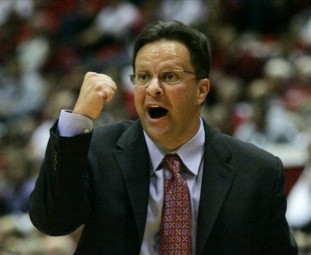 Indiana head coach Tom Crean encourages his team during the first half of an exhibition college basketball game against Anderson in Bloomington, Ind., Friday, Nov. 7, 2008. (AP Photo/Darron Cummings)