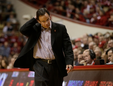 FILe - In this Jan. 5, 2016, file photo, Indiana head coach Tom Crean is shown during the first half of an NCAA college basketball game against Wisconsin, in Bloomington, Ind. Crean has been fired after five seasons. Athletic director Fred Glass announced the decision Thursday, March 16, 2017, as the NCAA Tournament was beginning. (AP Photo/Darron Cummings, File)