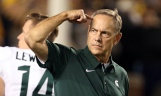 Oct 7, 2017; Ann Arbor, MI, USA; Michigan State Spartans head coach Mark Dantonio gestures to his team during the first quarter of a game against the Michigan Wolverines at Michigan Stadium. Mandatory Credit: Mike Carter-USA TODAY Sports